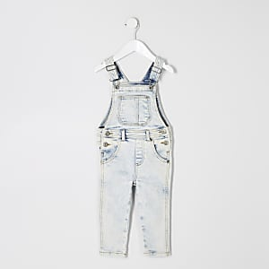 Mini kids light blue denim overalls