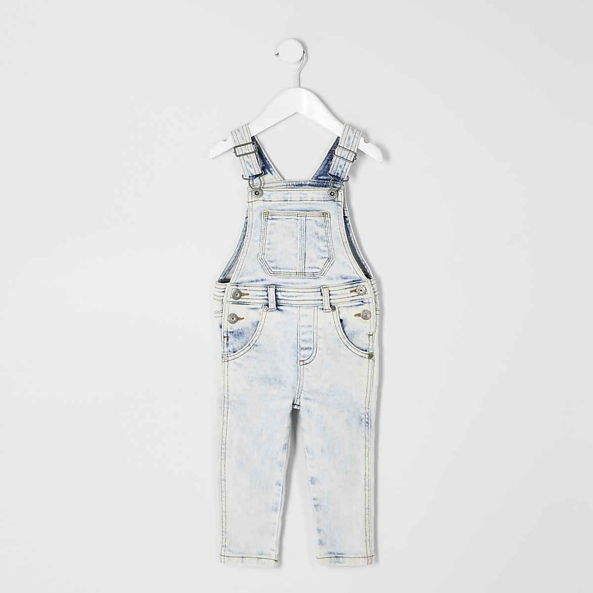 Mini kids light blue denim overalls