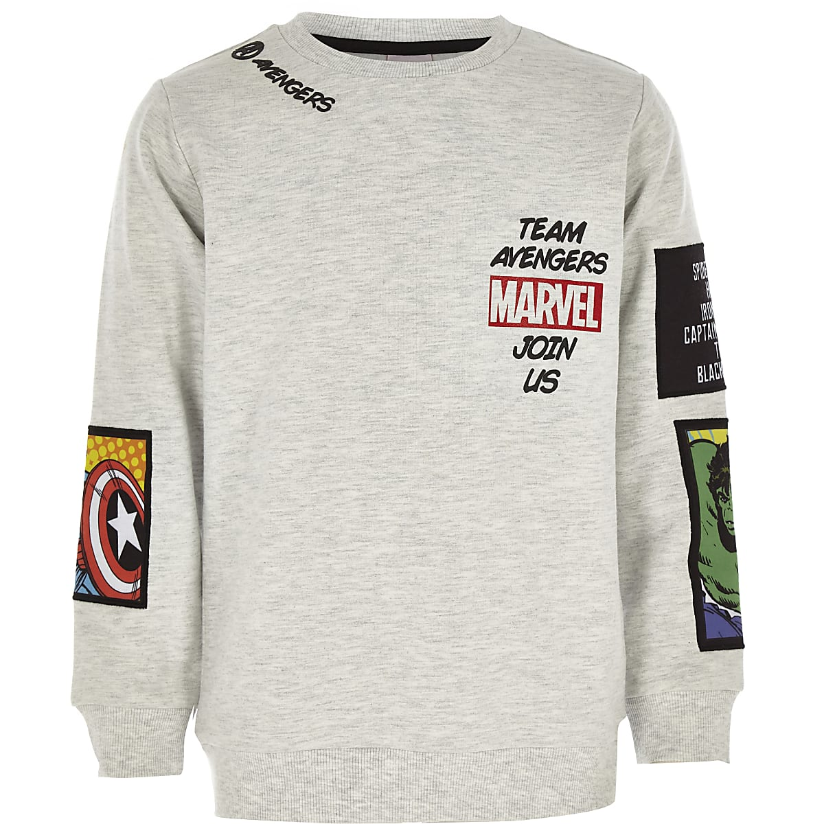 Boys grey Marvel comic badge sweatshirt