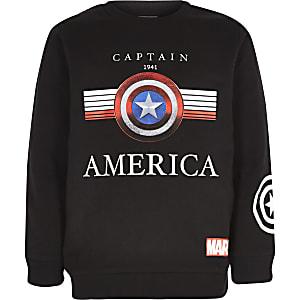 Sweat noir imprimé Captain America garçon