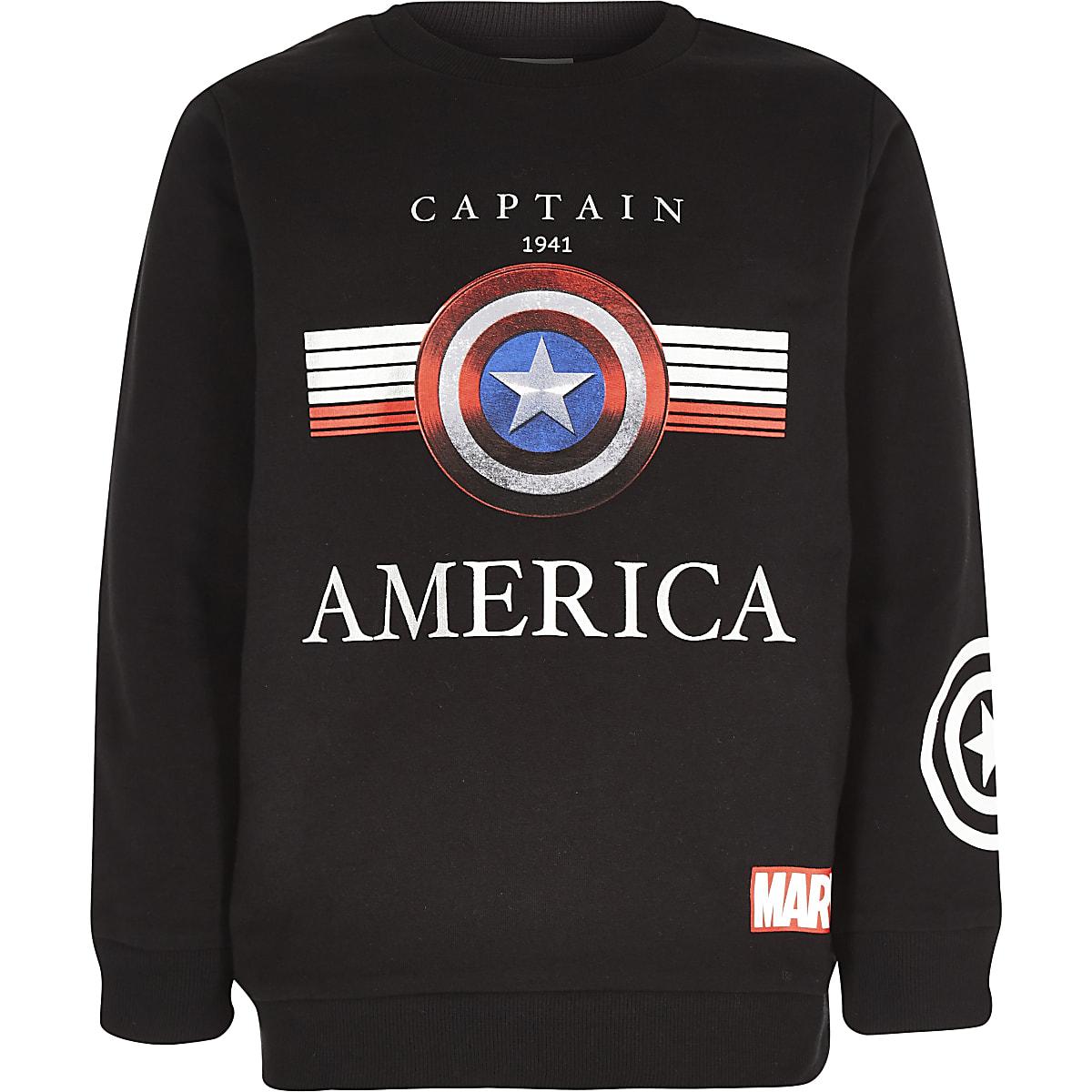 Schwarzes Sweatshirt mit Captain-America-Print
