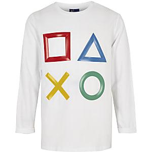 T-shirt blanc PlayStation à manches longues garçon