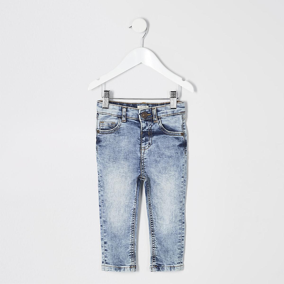 Mini - Sid - Lichtblauwe skinny wash jeans voor jongens