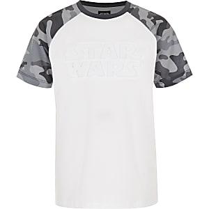 Boys grey Star Wars camo raglan T-shirt