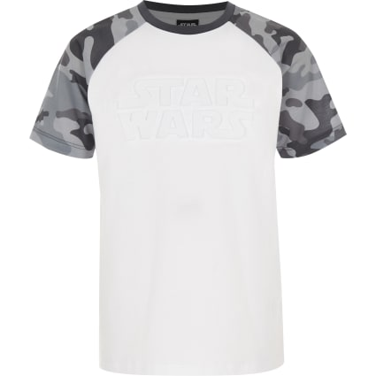 Boys grey Star Wars camo raglan T-shirt
