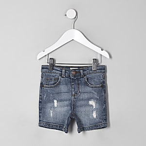 Mini boys blue ripped slim fit denim shorts