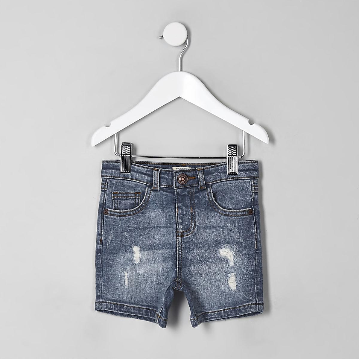 Mini boys blue ripped slim fit denim shorts