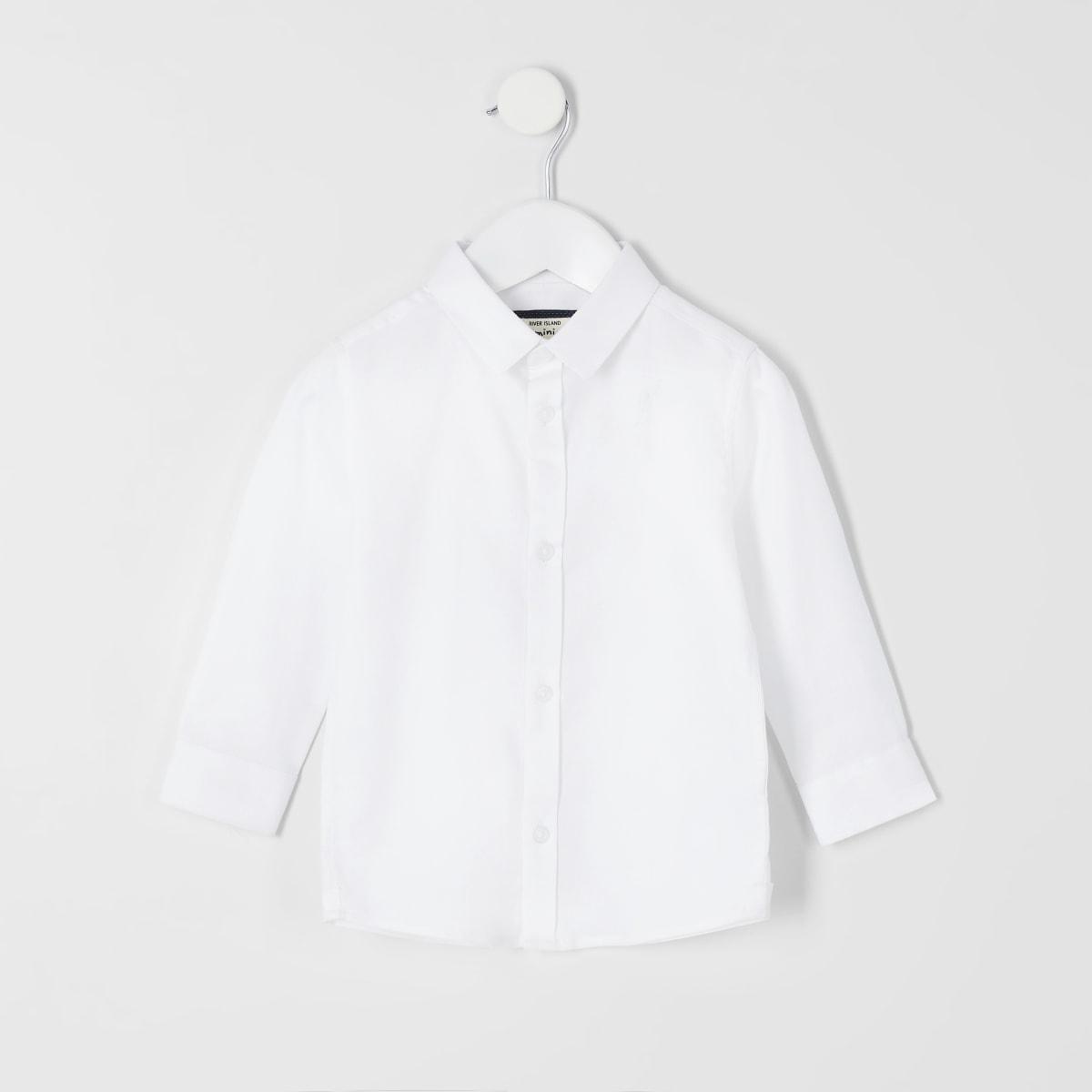 Weißes, langärmeliges Hemd mit RI-Logo