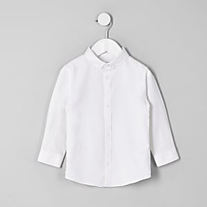Mini boys white button-down collar shirt