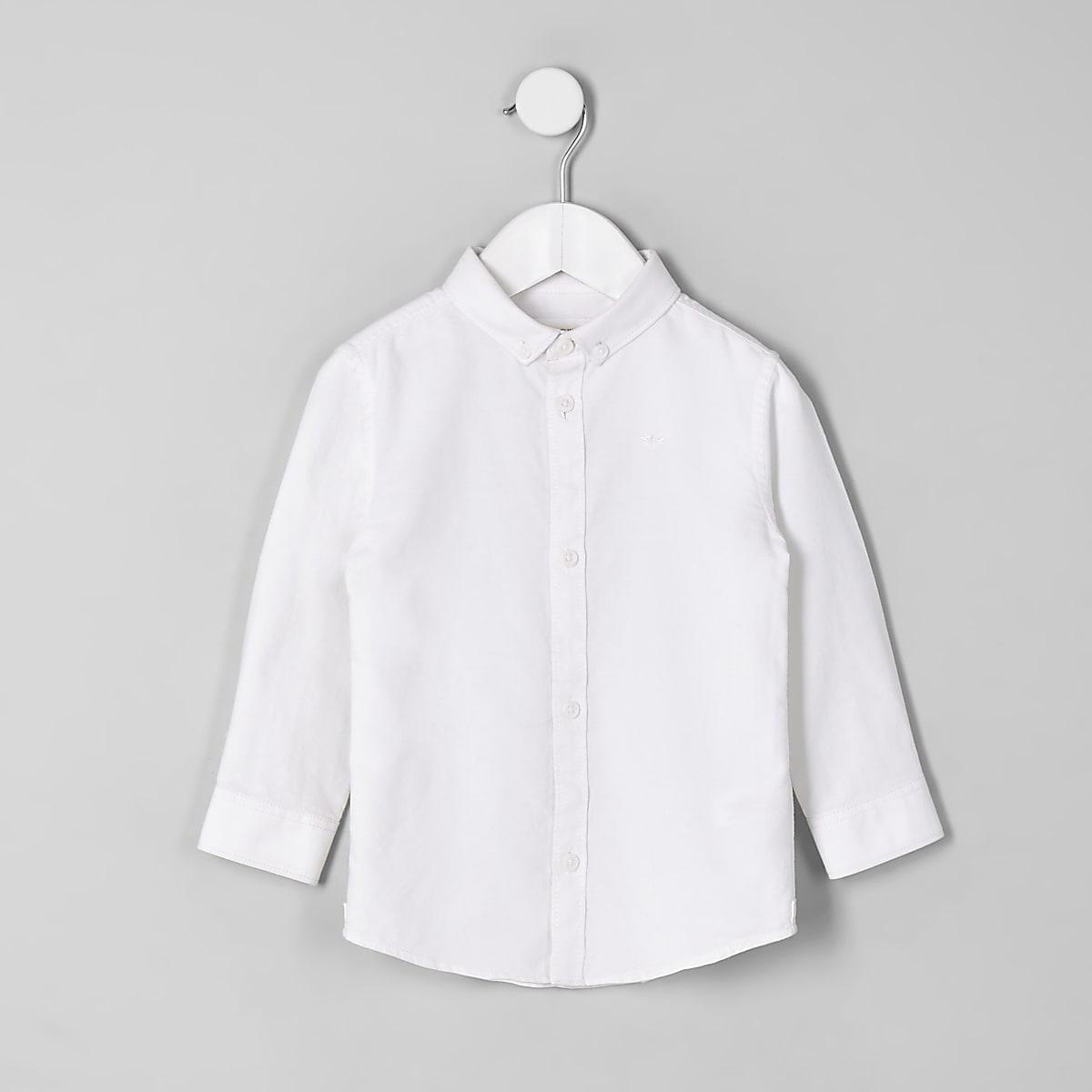 Mini boys white button-down collar shirt