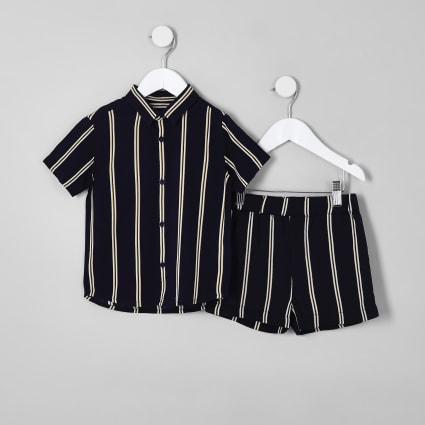 Mini boys navy stripe short outfit