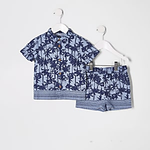 Mini boys blue palm print T-shirt outfit