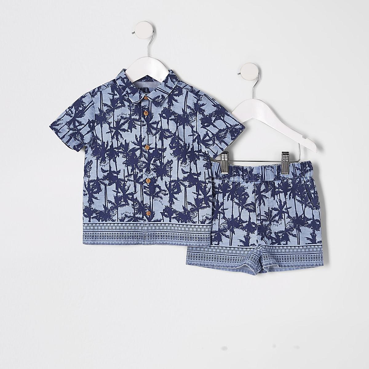 Mini boys blue palm print T-shirt outfit
