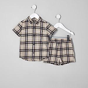 Mini boys stone check short outfit