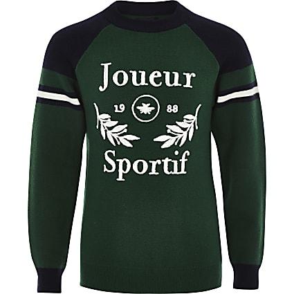 Boys green 'Joueur sportif' jumper
