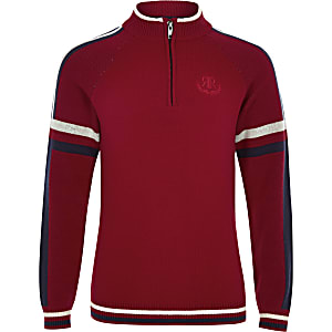 Boys red funnel neck jumper