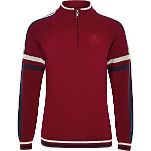 Rode pullover met opstaande kraag voor jongens