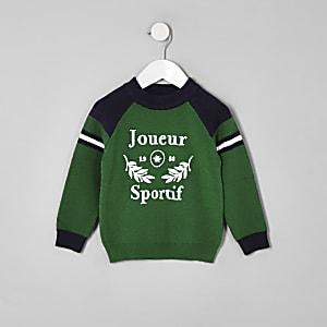 Mini boys green 'Joueur sportif' sweater