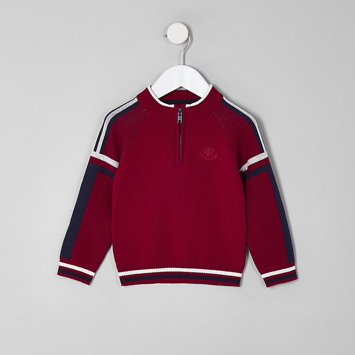 Mini boys red funnel neck zip jumper