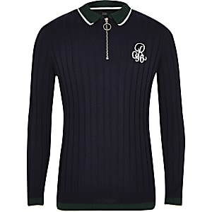 Boys navy R96 zip polo shirt