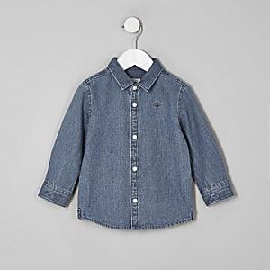 Chemise en denim bleue avec motif guêpe brodé mini garçon
