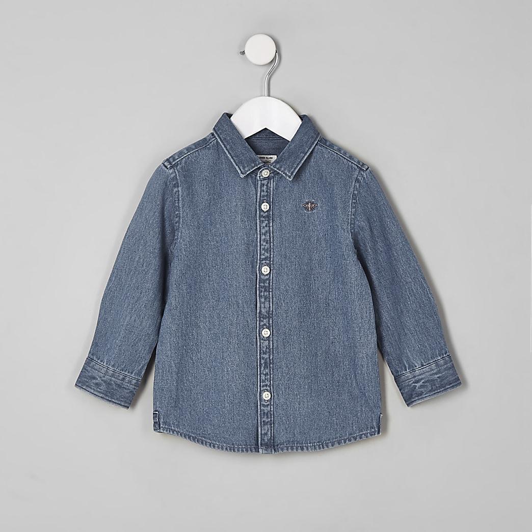 Mini boy blue wasp embroidered denim shirt