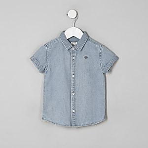 Mini - Blauw denim overhemd met korte mouwen voor jongens