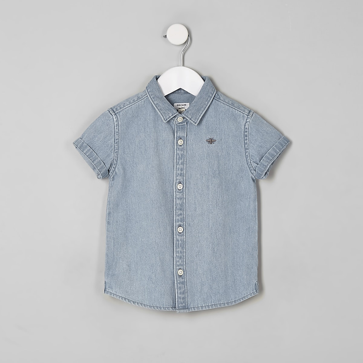 Mini boys blue short sleeve denim shirt