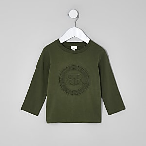 Mini boys khaki green RI embossed shirt