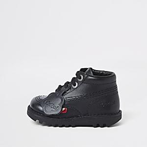 Mini kids black Kickers lace-up boots