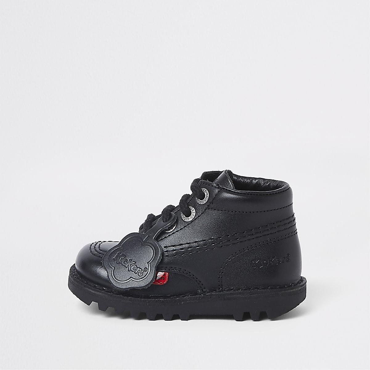 Mini - Kickers - Zwarte hoge veterschoenen voor kinderen