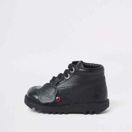Mini kids black Kickers lace-up boots