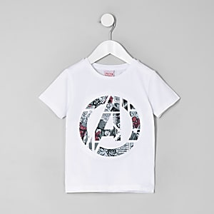 Mini boys white Avengers Marvel print T-shirt
