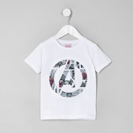 Mini boys white Avengers Marvel print T-shirt