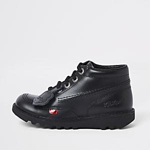 Kickers - Zwarte hoge veterschoenen voor kinderen