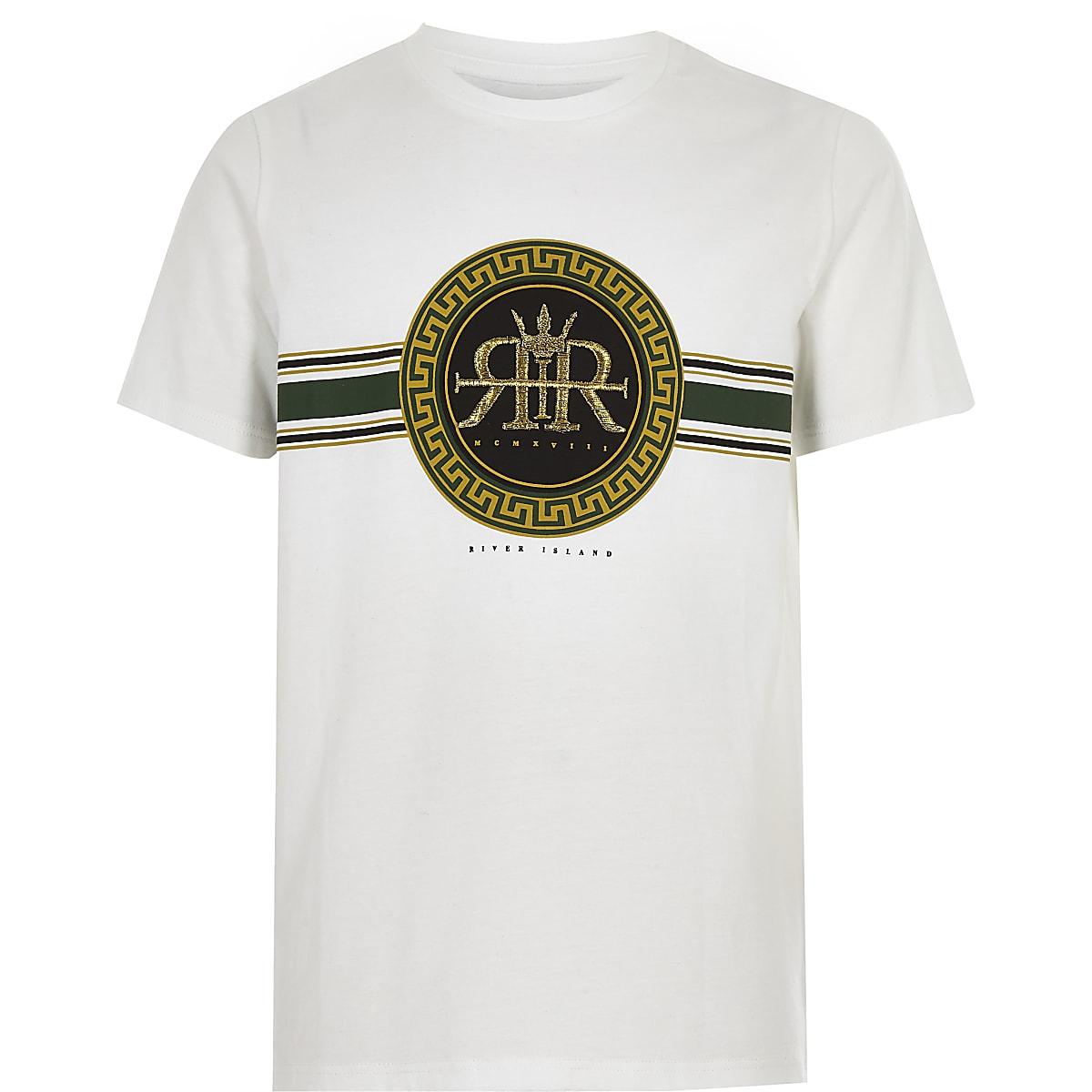 7a96343c Boys white embroidered RI logo T-shirt - T-shirts - T-Shirts & Vests - boys