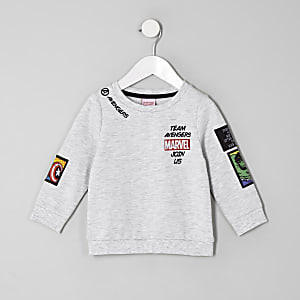 Mini boys grey Marvel patch print sweatshirt