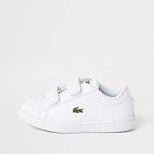 Lacoste – Baskets blanches à Velcro mini enfant