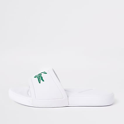Kids Lacoste white embossed sliders