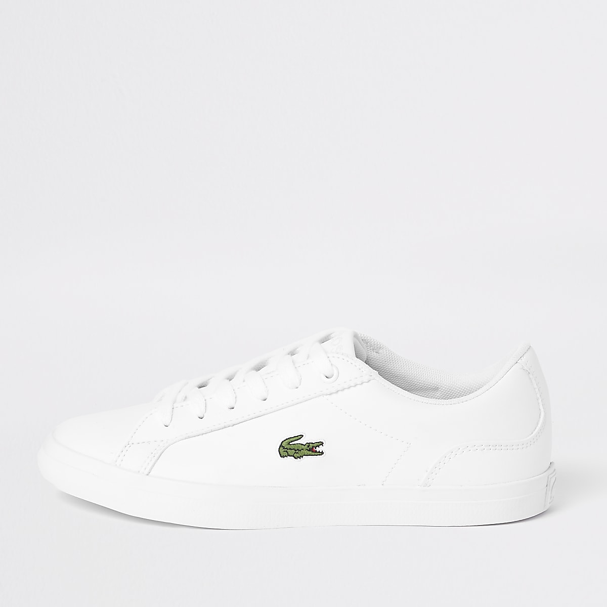 Kids Lacoste white lace up trainers