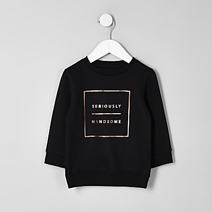 Mini boys black 'seriously handsome' sweater