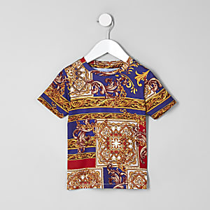 Mini boys blue baroque print T-shirt
