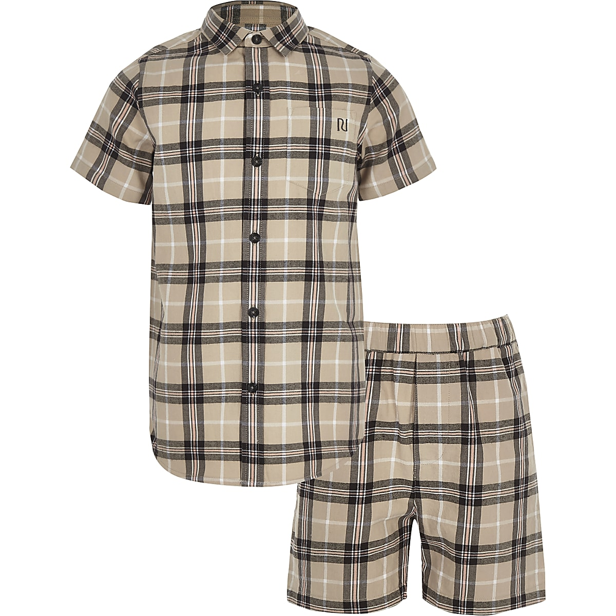 Boys stone check short outfit