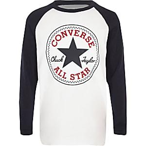 Converse – T-shirt blanc à manches raglan pour garçon