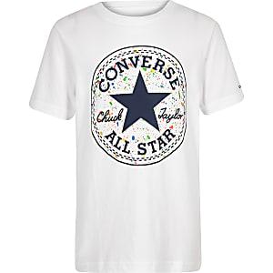 Converse – T-shirt blanc à logo motif éclaboussure pour garçon