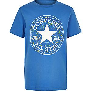 Converse - Blauw T-shirt met verfspetter en logo voor jongens