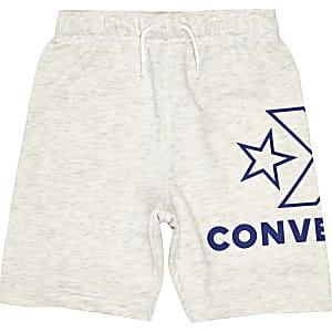 Converse – Weiße Jersey-Shorts mit Logo