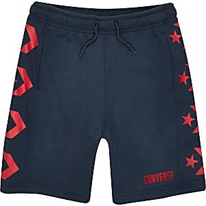 Converse - Marineblauwe jersey short met logo voor jongens