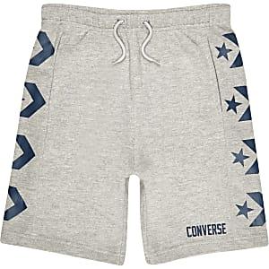 Converse – Short en jersey gris à logo pour garçon