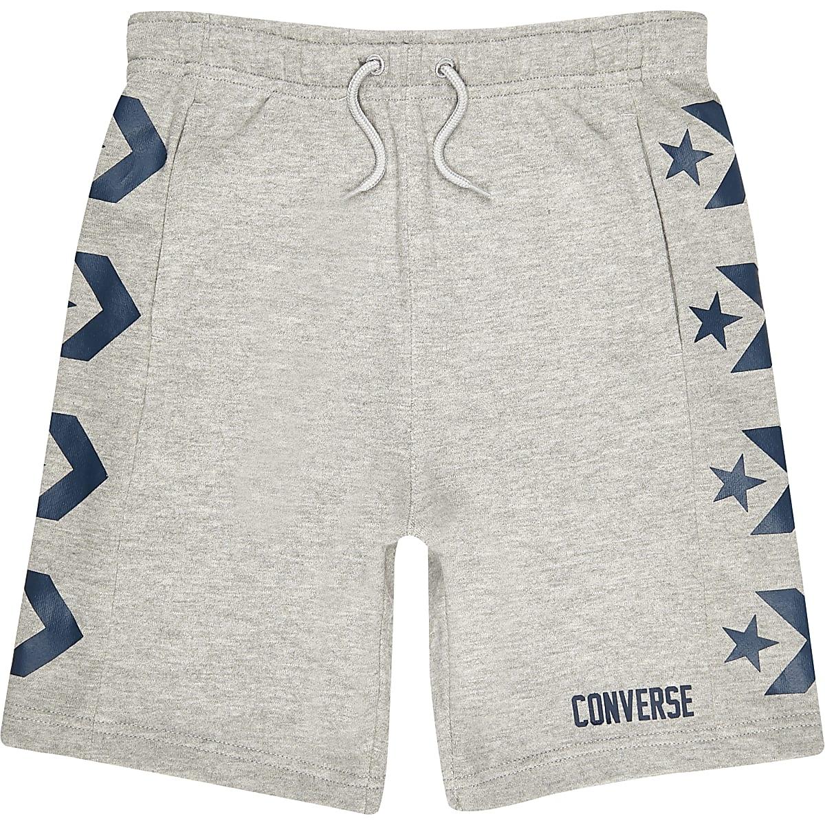 Converse – Graue Jersey-Shorts mit Logo